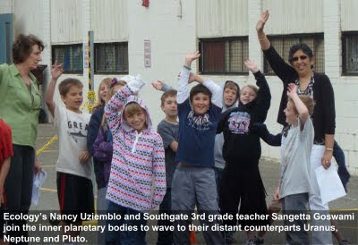 Ecology's Nancy Uziemblo and Southgate third grade teacher Sangetta Goswami join the inner planetary bodies to wave to their distant counterparts, Uranus, Neptune and Pluto.