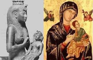 Virgem maria e Jesus, assim como Ísis e Hórus, histórias similares.