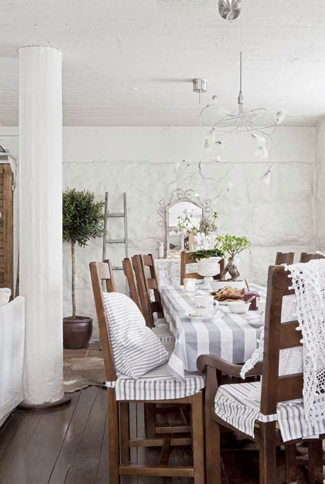 amenajari, interioare, decoratiuni, decor, design interior, stil shaby chic, scandinav, alb, rustic, sufragerie