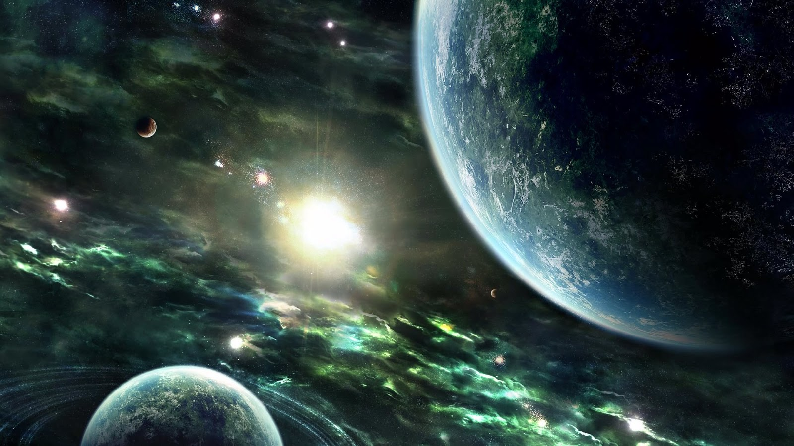 Alien Planets in Space HD Backgrounds high resolution