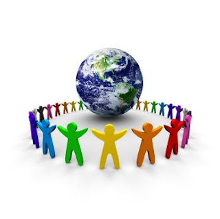 little colorful shaped people holding hands around the earth