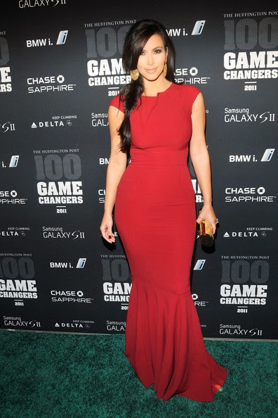 kim kardashian red mermaid evening dress