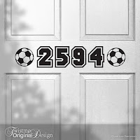 Soccer Sports Design Custom House Number Vinyl Door Decal