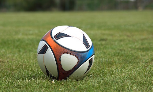 Soccer ball on grass for family fitness routine