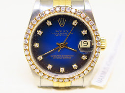 ROLEX OYSTER PERPETUAL DATEJUST BOYSIZE BLUE DIAL DIAMONDS INDEX DIAL - ROLEX 68273 - SERIE L 1989