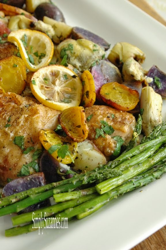 roasted chicken with purple potatoes & lemons