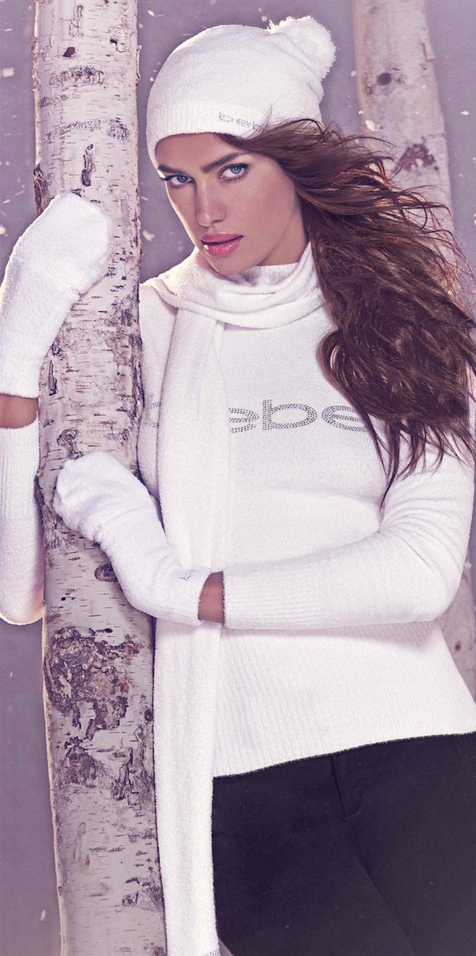 BEBE White Logo Turtleneck Sweater