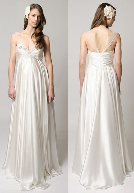 Satin Sweetheart Empire A-Line Long Maternity Wedding Dress