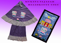 mukena kartun anak gambar hello kitty warna ungu