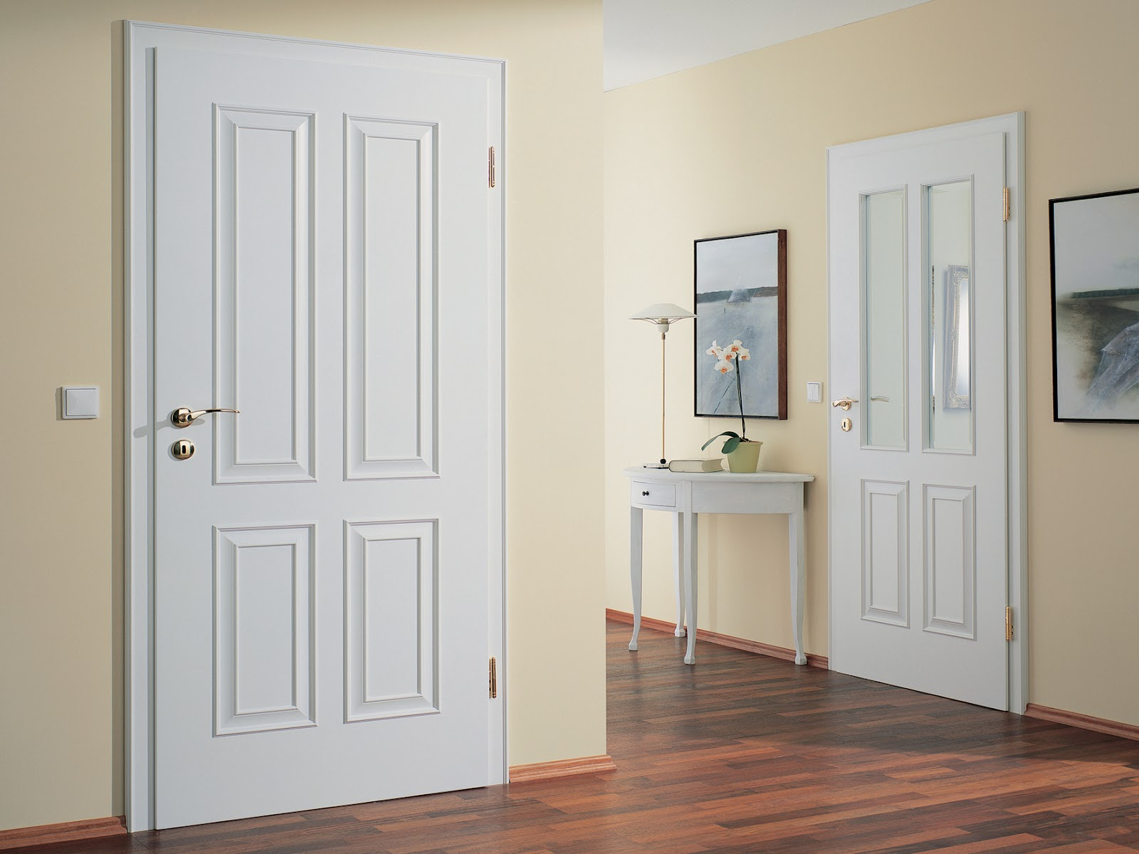 1200 #7F5A4C White Panel Door Set  The Rotary 4 With Solid Panels And Glazed.jpg pic Doors With Glass Panels 42511600