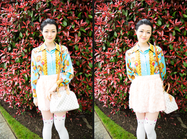 Vancouver fashion blogger, vintage easter shirt, Louis Vuitton Speedy 25, rose skirt, cat tights