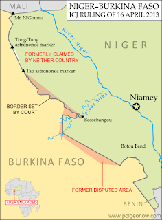 Map of the former territorial dispute between Niger and Burkina Faso, resolved in a 2013 ruling of the International Criminal Court