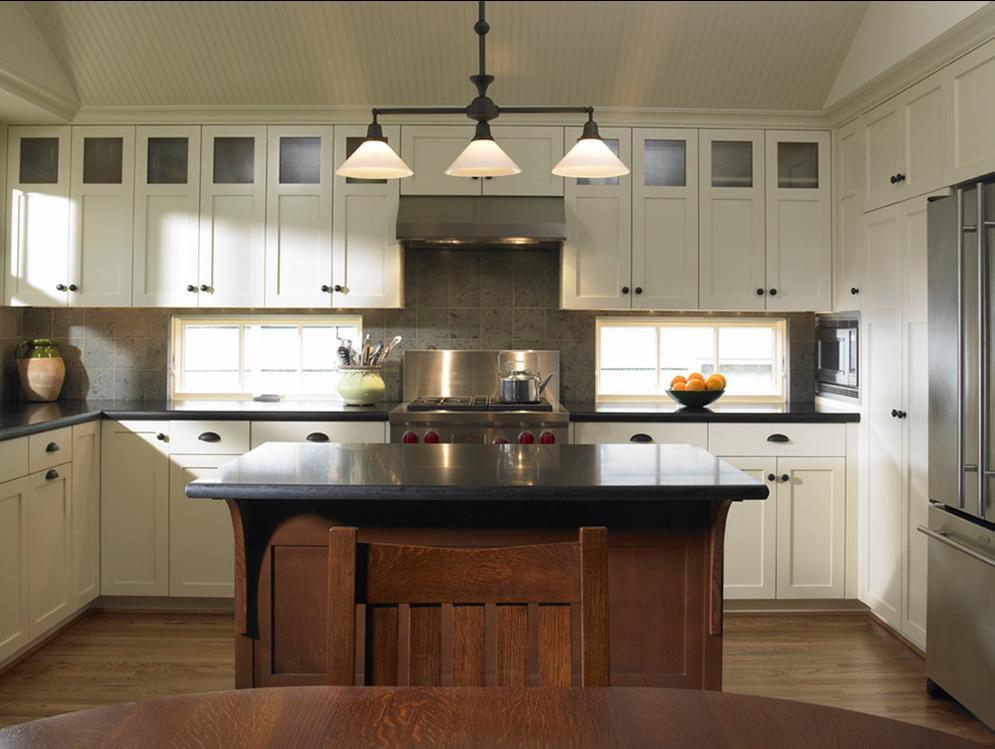 Delorme designs white craftsman style kitchens for Kitchen cabinets houzz