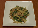 Ham, Spinach, and Mushroom Pasta with Pistachio Pesto
