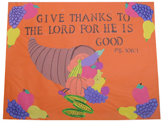 A thanksgiving bulletin board for sunday school art for Thanksgiving crafts for kids church