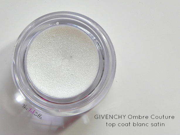 givenchy ombre couture cream eyeshadow review swatch, top coat, blanc satin