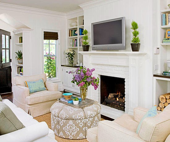 color throughout using a neutral palette throughout a living room