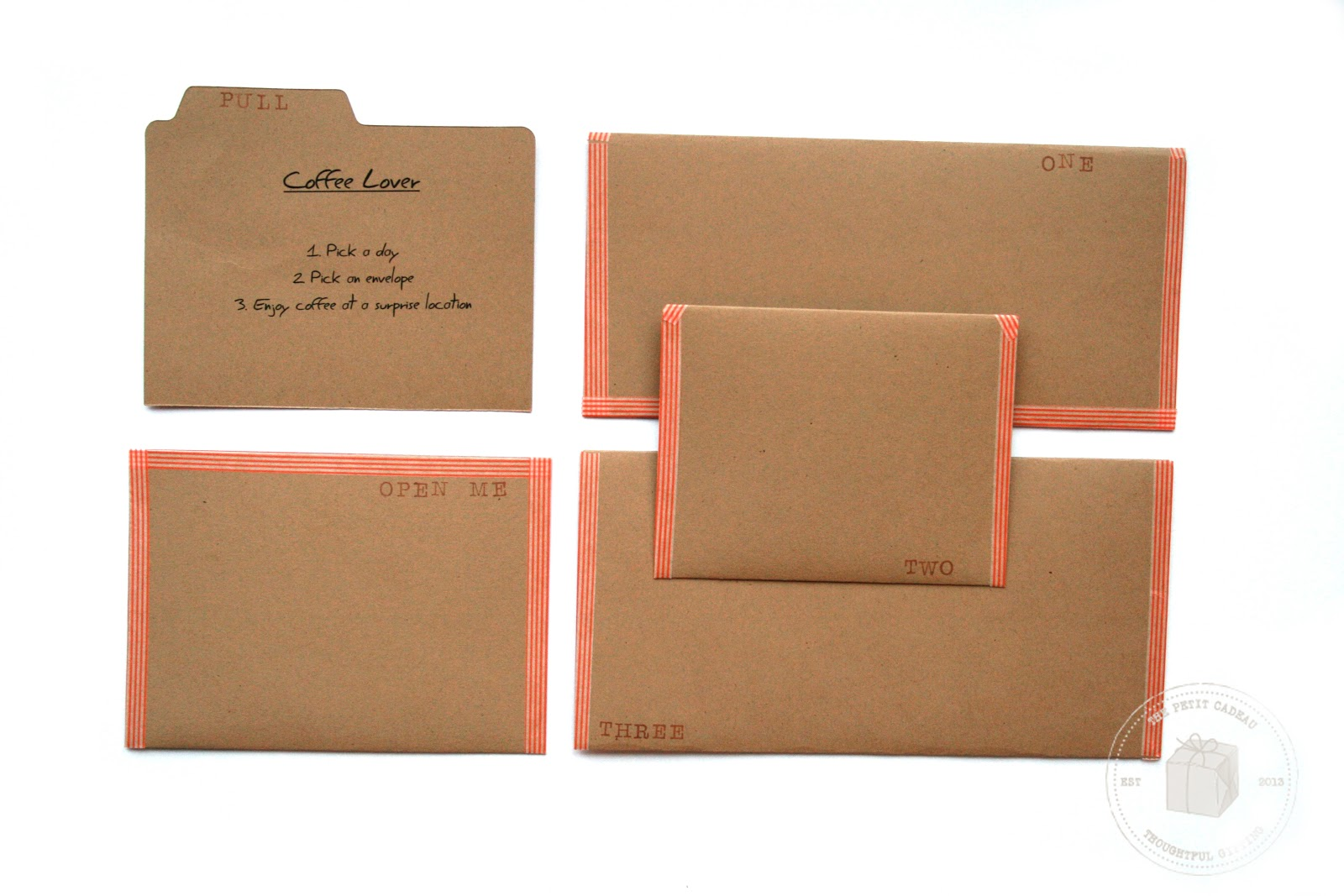 the petit cadeau surprise envelopes easy diy gifting grab several gift gift certificates related to a theme i chose coffee lover and picked up gift certificates for several local coffee spots