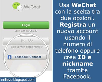 wechat registrazione