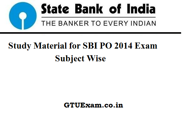 [Study Material] SBI PO 2014 - Subject Wise