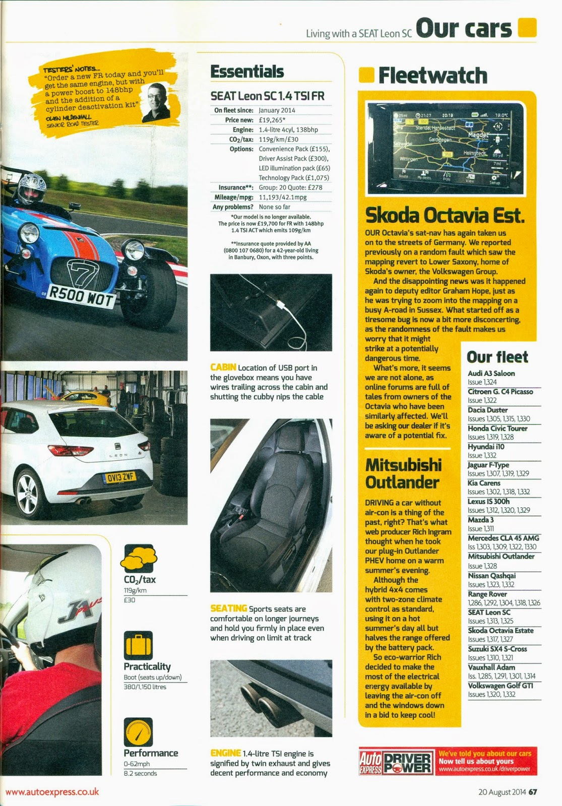 Seat Leon SC report in Auto Express magazine page 67 with my Caterham R500 pictured.