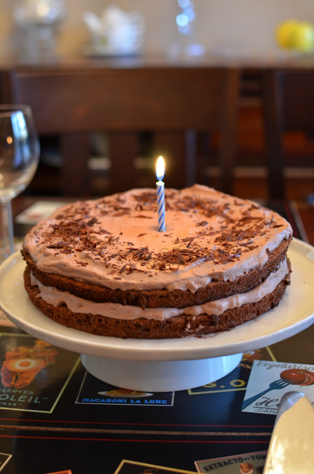 ... the birthday boy, it's Chocolate Cloud Cake with cocoa whipped cream