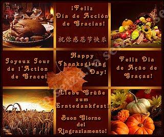 'Feliz Día de Acción de Gracias!' en varios idiomas