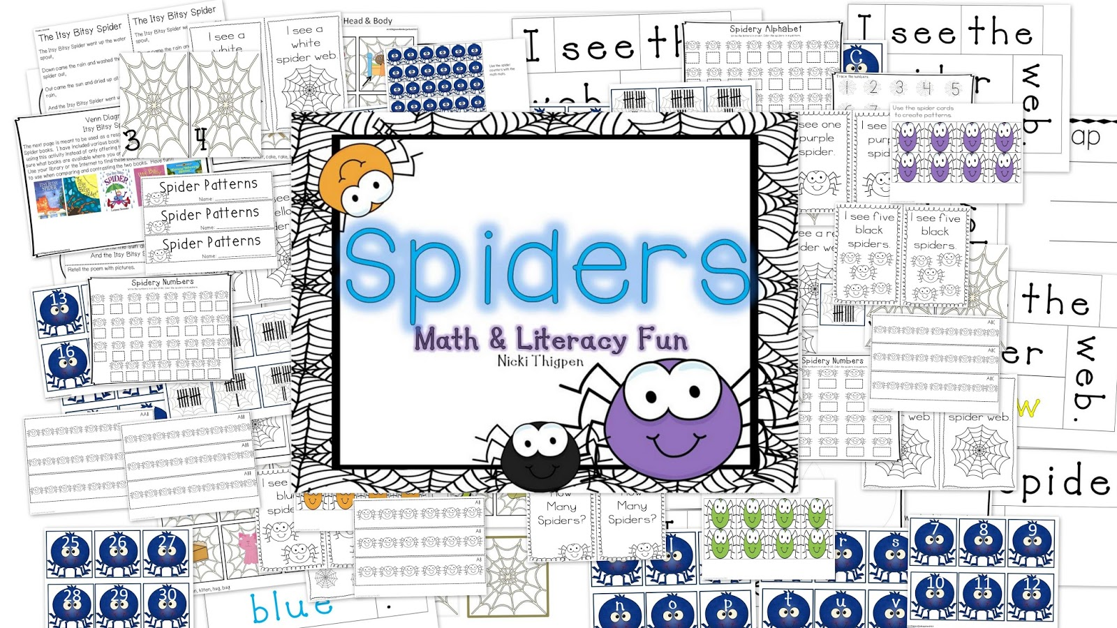 http://www.teacherspayteachers.com/Product/Spiders-Math-and-Literacy-Activities-362114