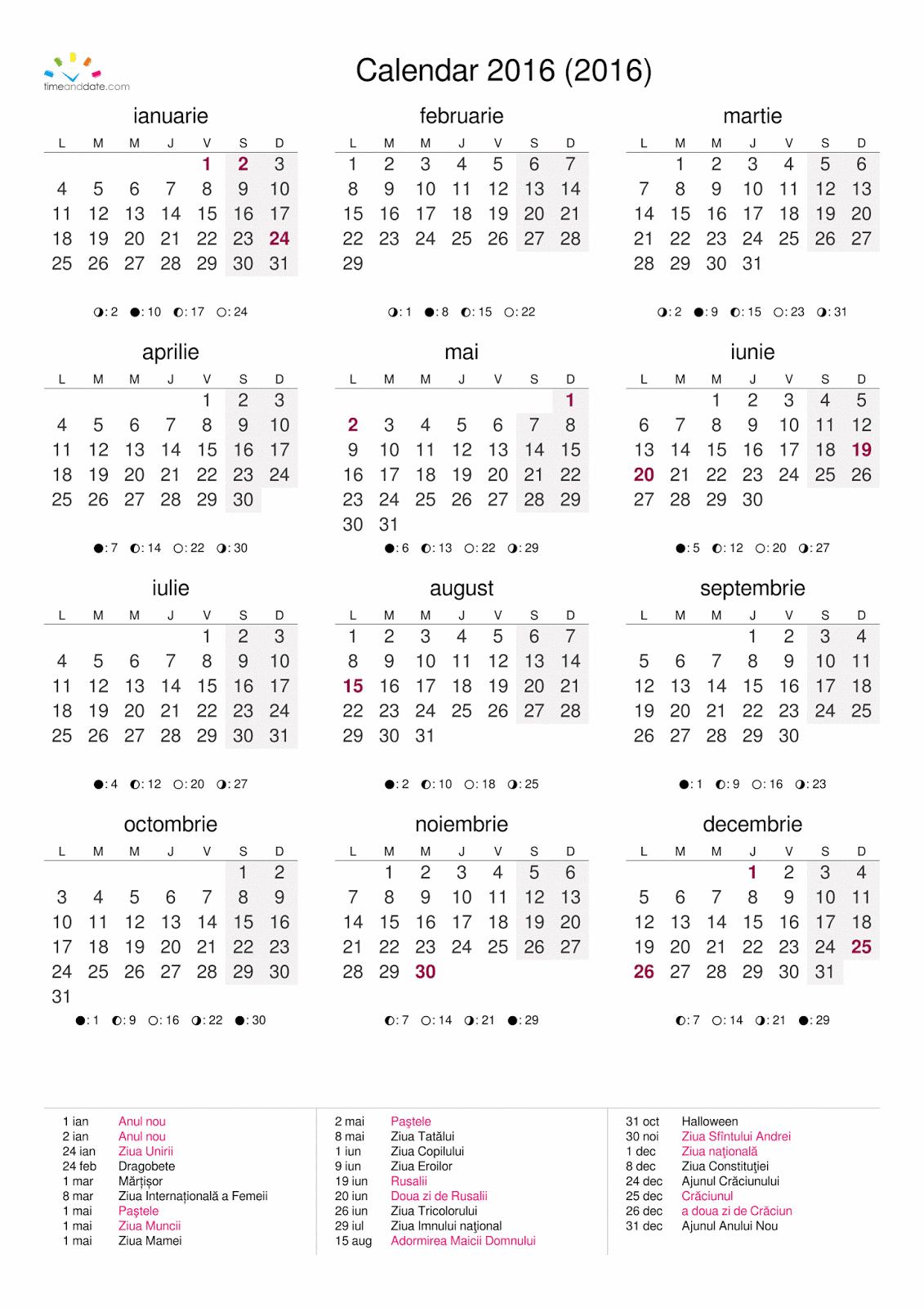 Calendar 2016 Romana | Calendar Template 2016