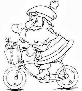 desenho papai noel ciclista