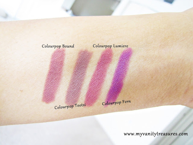 swatches of colourpop bound lumiere tootsi fern