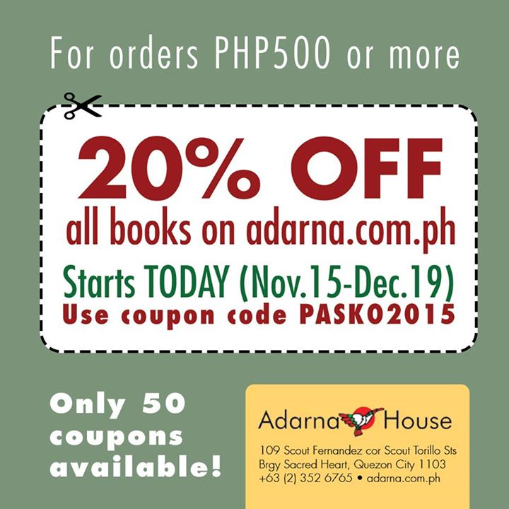 Plai southern tagalog region librarians council november 2015 first 50 customers to use code pasko2015 gets 20 off purchases worth php500 or more from adarna fandeluxe Choice Image