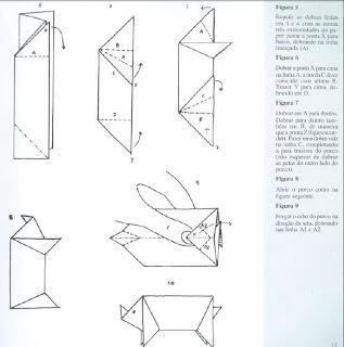 Origami - Dobraduras de papel machê. Porco 2.