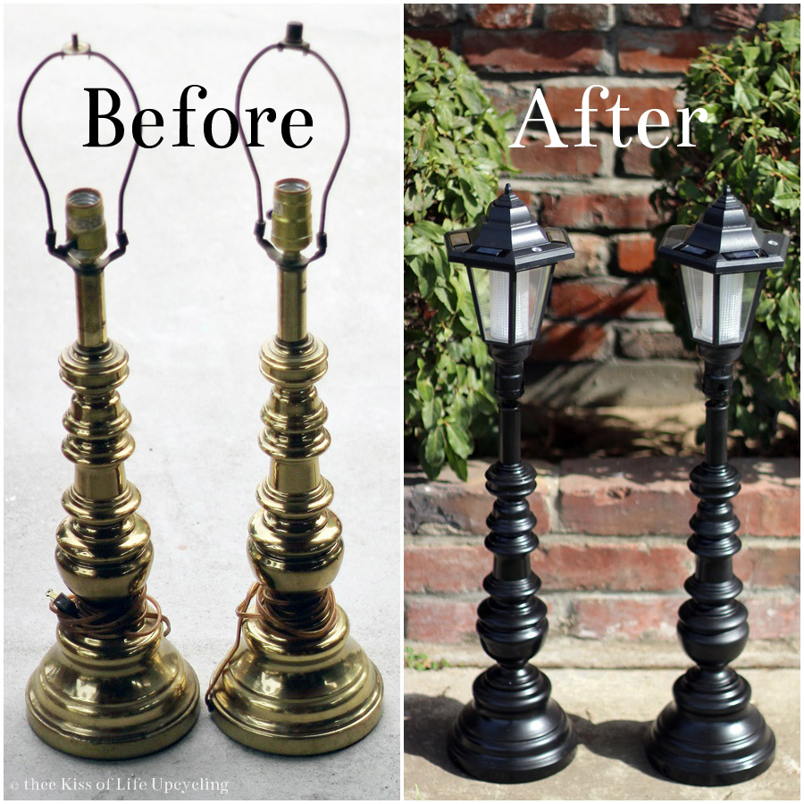 Upcycled solar lamp posts thee kiss of life upcycling for Christmas decorations for outside lamp post