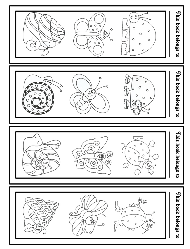 Free Printable Kids Bookmarks to Color