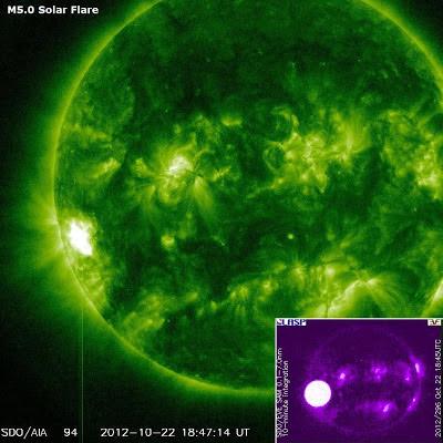 Llamarada solar clase M5.0. 22 de Octubre 2012