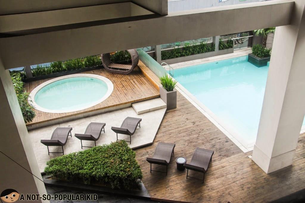 Wonderfully designed pool area of F1 Hotel Manila