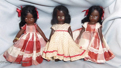 Nasb topsy dolls made of bisque far left and hard plastic middle