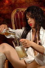 "Pirate girl Idoia gets drunk on beer and pees in the mug in ""Pirate"" at Magic Erotica"
