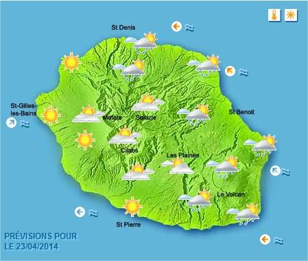 Prévisions météo Réunion pour le Mercredi 23/04/14
