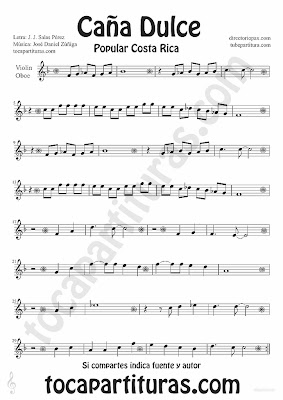Tubescore Sweet Cane by JJ Salas Perez and Jose Daniel Zuñiga for Violin and Oboe Puerto Rico popular song Music Score