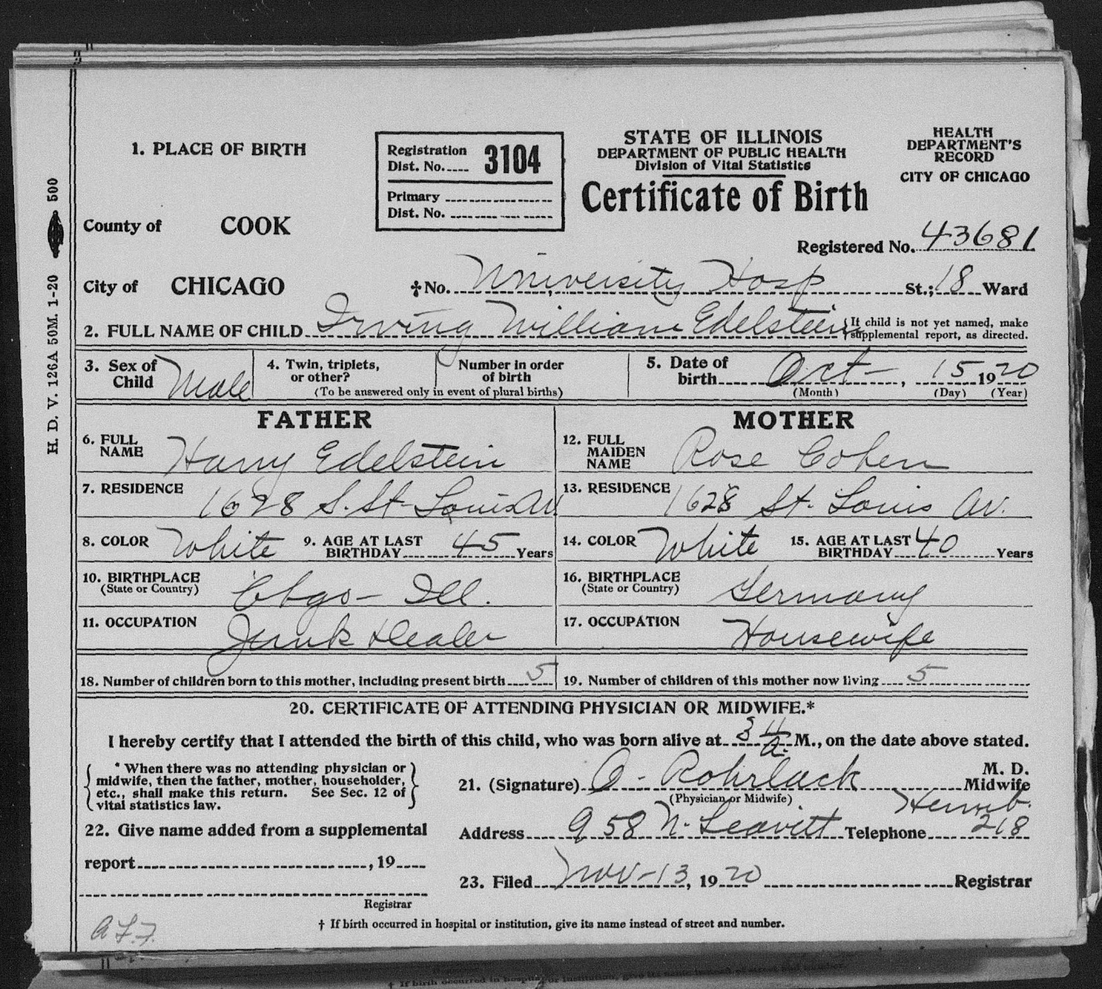 Under every stone what might have been leo edelstein the edelsteins are still living at 1628 s st louis rose now lists her place of birth as germany and harry says he was born in chicago illinois aiddatafo Choice Image