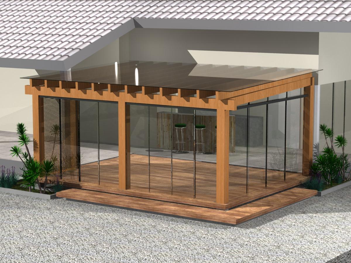 Pergolado de madeira com cobertura de vidro #956236 1200 900