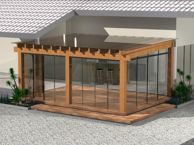 gazebo jardim madeira:Pergolado de madeira com cobertura de vidro