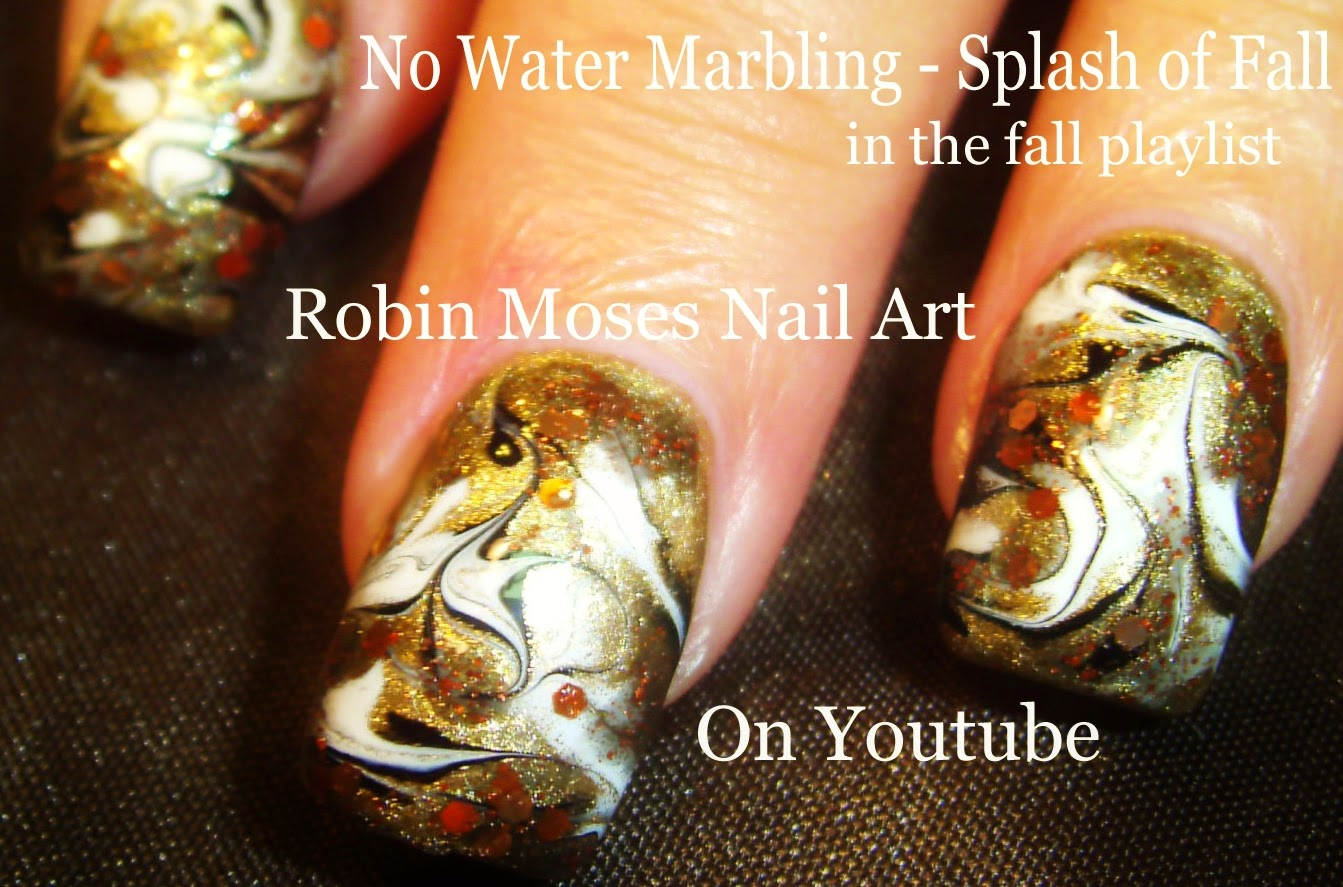 Nail Art By Robin Moses No Water Marble Nail Art No Water