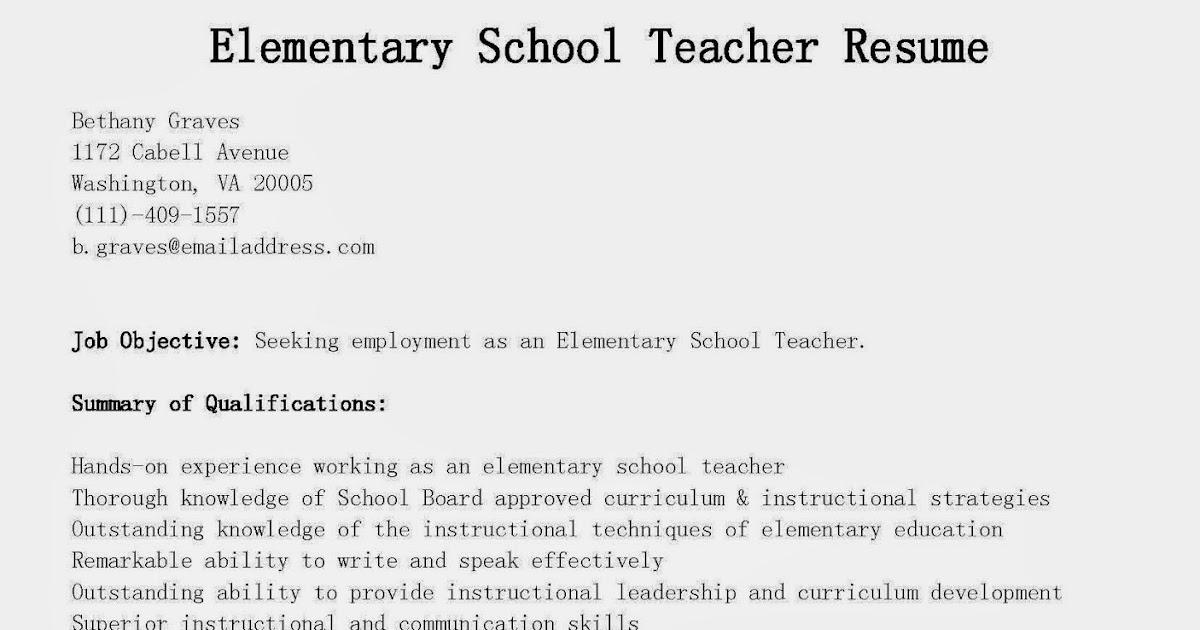 resume samples elementary school teacher resume sample