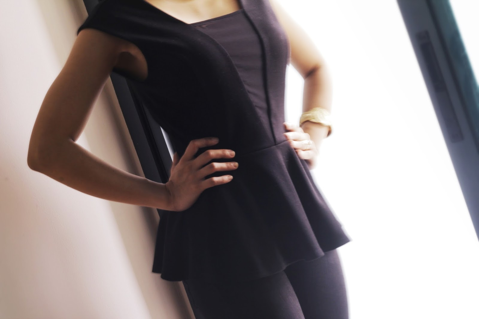 workwear, forever 21 peplum, outfit to work, black