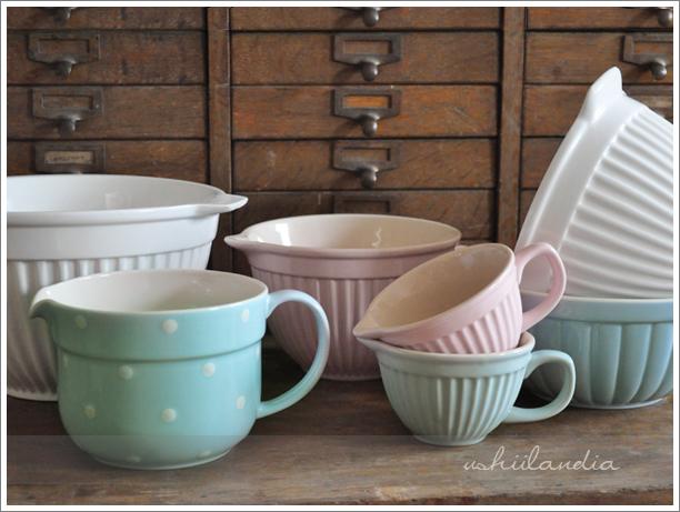 ceramiczne miski kuchenne pastelowe i w groszki / pastel & polka dot ceramic bowls