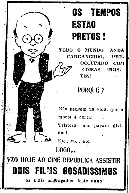 Propaganda do Cine República (SP) veiculada em 1930 com dois filmes de humor.