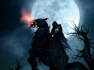 Grim Reaper on Horse Moon HD Halloween Wallpaper